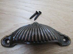 Ridged Cup Pull Handle Antique Copper