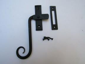Handforged Curly Left hand Window Fastener Black Beeswax