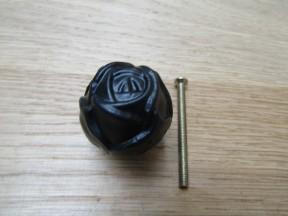 Rose Cabinet Knob Black Antique