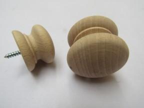 Screw in Beech Cabinet Knob 45mm