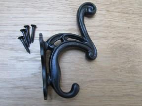 Scroll Coat Hook Black Antique