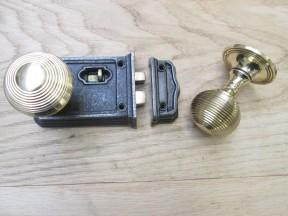 Small Rim Latch Antique Iron & Beehive Rim Brass Set