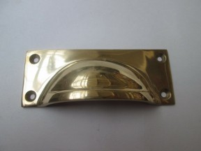 Small Rectangular Lipped Cup Pull Polished Brass