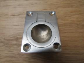 Small Rectangular Ring Pull Satin Chrome