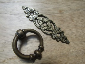 Small Ring Pull On Backplate Antique Brass
