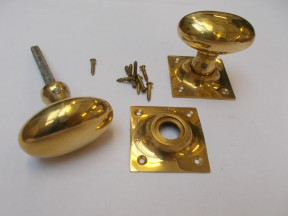 Mortice Door knob Polished Brass Oval on square base