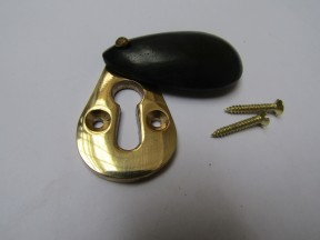Pear Drop Escutcheon Black & Brass