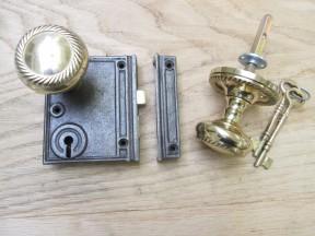 Vertical Rim Lock Antique Iron & Georgian Rim Brass Set
