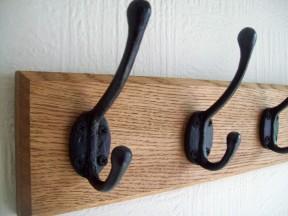 Black Victorian 3 Hook Coat Rail 38cm