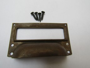 Victorian Steel Filing Cabinet Card Holder antique brass