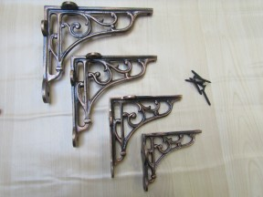 "Pair Of 4"" Victorian Scroll Shelf Brackets Antique Copper"