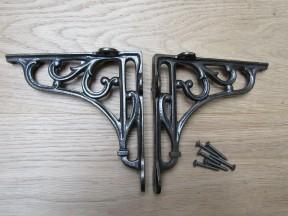 "Pair Of 5"" Victorian Scroll Shelf Brackets Antique Iron"
