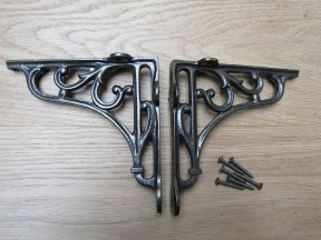 "Pair Of 6"" Victorian Scroll Shelf Brackets Antique Iron"