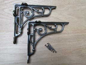 "Pair Of 7"" Victorian Scroll Shelf Brackets Antique Iron"