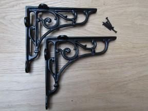 "Pair Of 5"" Victorian Scroll Shelf Brackets Black Antique"