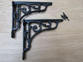 "Pair Of 7"" Victorian Scroll Shelf Brackets Black Antique"