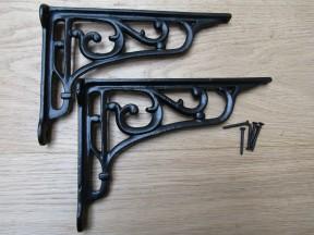 "Pair Of 9"" Victorian Scroll Shelf Brackets Black Antique"