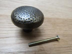 Warwick Mottled Beaten Cabinet Knob -antique brass