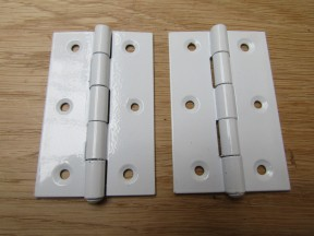 "Pair of White 3"" Butt Hinges"
