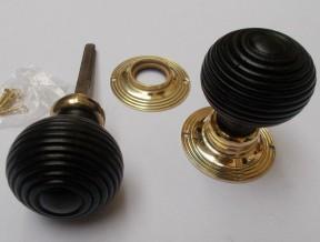 Rim door knob set Beehive Wooden Ebony and Brass