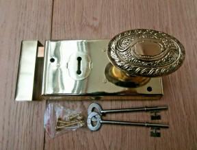 "6"" Rim Lock Brass & Art Nouveau Brass Set"