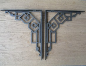 Pair Of Art Decor Shelf Brackets Antique Iron