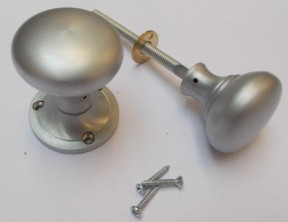 Rim Knob set Victorian Satin Chrome