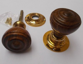 Rim door knob set Bun Wooden Teak and Brass
