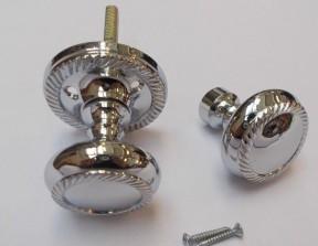 Rim Door knob set Georgian Polished Chrome