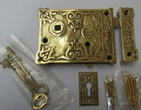 Solid Brass Construction Small Ornate Eastlake Rim Lock