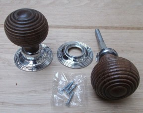 Mortice Door knob Teak + Chrome Wooden beehive