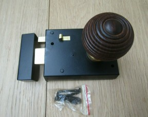 "4"" Rim Latch Black & Beehive Teak + Brass Set"