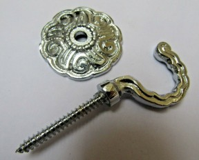 Pair of Solid Brass Rosette and plate curtain hook Polished Chrome