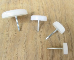 Pack Of 20 Nail In Furniture Floor Glides 12mm White