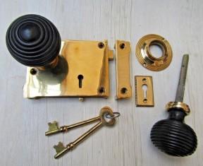 East Lake Rim Lock & Beehive Ebony + Brass Set