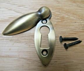 Slim Tear Drop Escutcheon Antique Brass