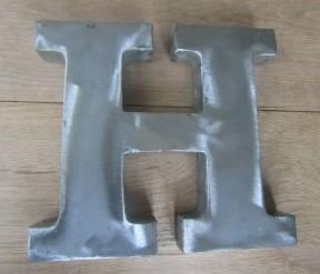 "8"" Large Rustic Steel Letter H"