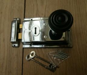 "6"" Rim Lock Brass & Bun Rimmed Ebony + Chrome Set"