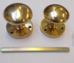 Mortice Door knob Polished brass Round Mushroom