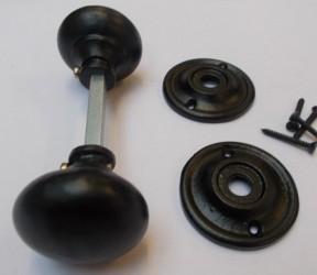 Rim door knob set Cottage Black Antique