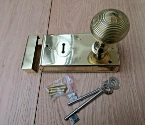 "5.5"" Rim Lock Brass & Reeded Rim Brass Set"