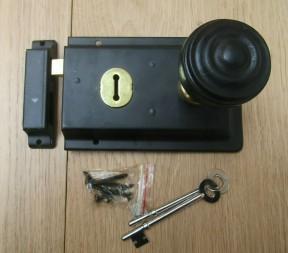 "6"" Rim Lock Black & Bunned Rim Ebony + Brass Set"