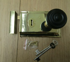 "6"" Rim Lock Brass & Bun Rimmed Ebony + Brass Set"