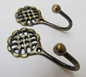 Pair of Diamante Lattice Curtain Hooks Antique Brass
