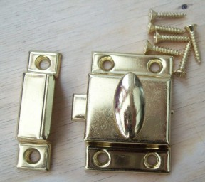 Large Steel cupboard catch 55mm Brass