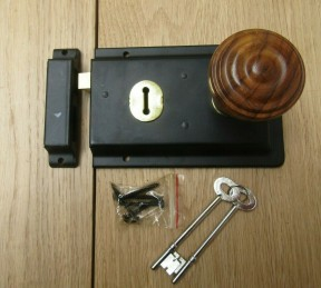 "6"" Rim Lock Black & Bunned Rim Teak + Brass Set"