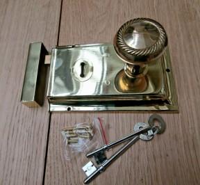 "6"" Rim Lock Brass & Georgian Rim Brass Set"