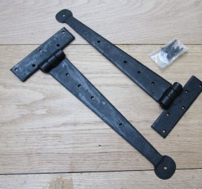 "Pair of 18"" Penny end hinges Black Wax"
