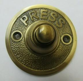 Press Embossed Round Bell Push Antique Brass