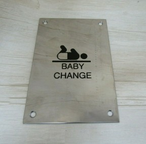 "6"" Stainless Steel Baby Change Door Sign"